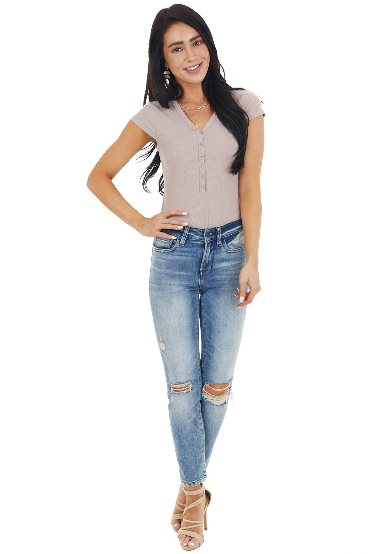 Latte Ribbed Knit Button Up Bodysuit with Short Cap Sleeves