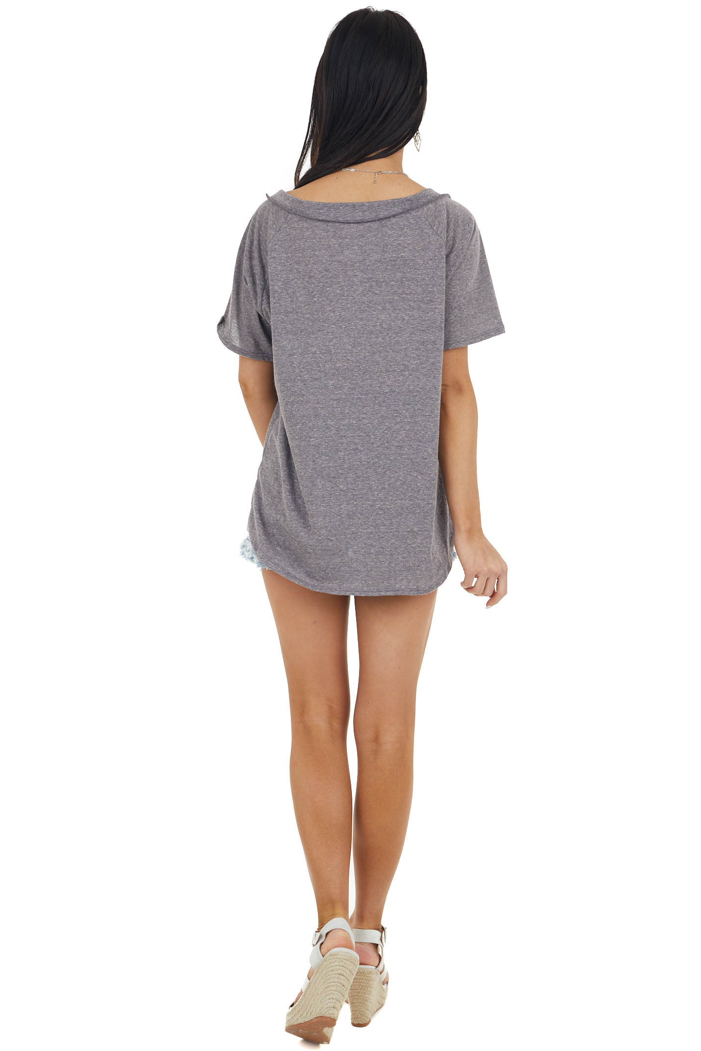 Stone Grey Two Tone Short Sleeve Knit Top with Raw Details