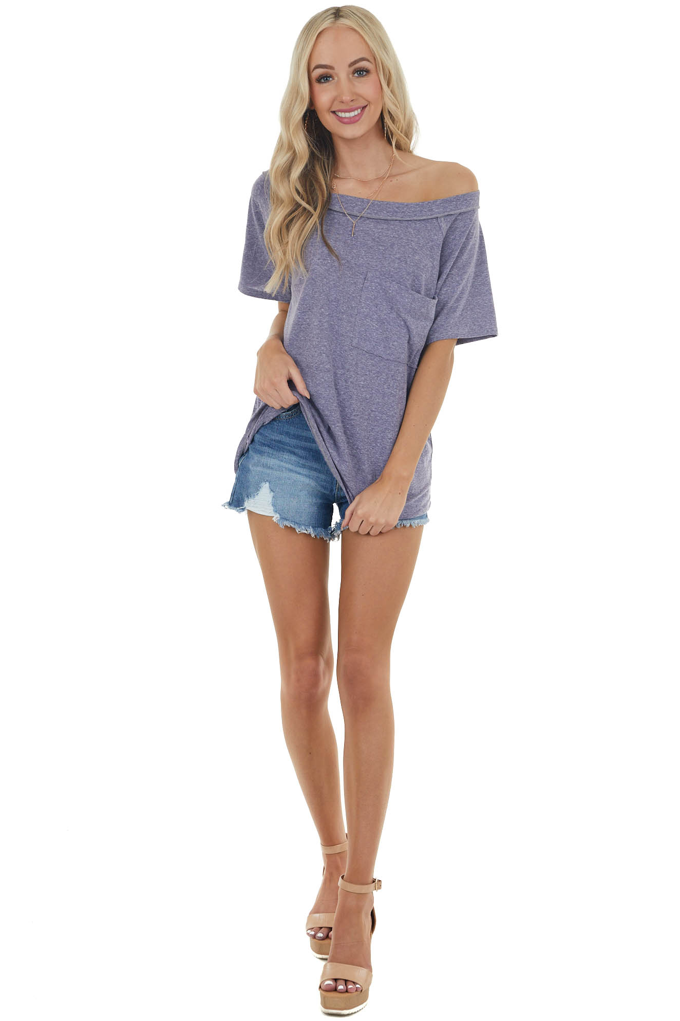 Dusty Blue Two Tone Short Sleeve Knit Top with Raw Details