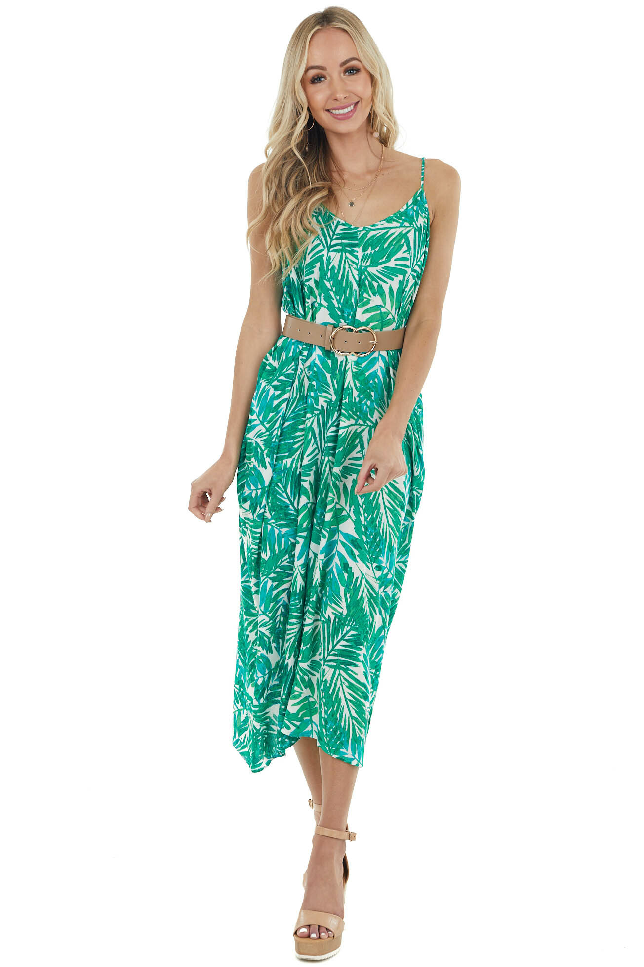 Kelly Green Palm Leaf Print Sleeveless V Neck Maxi Dress