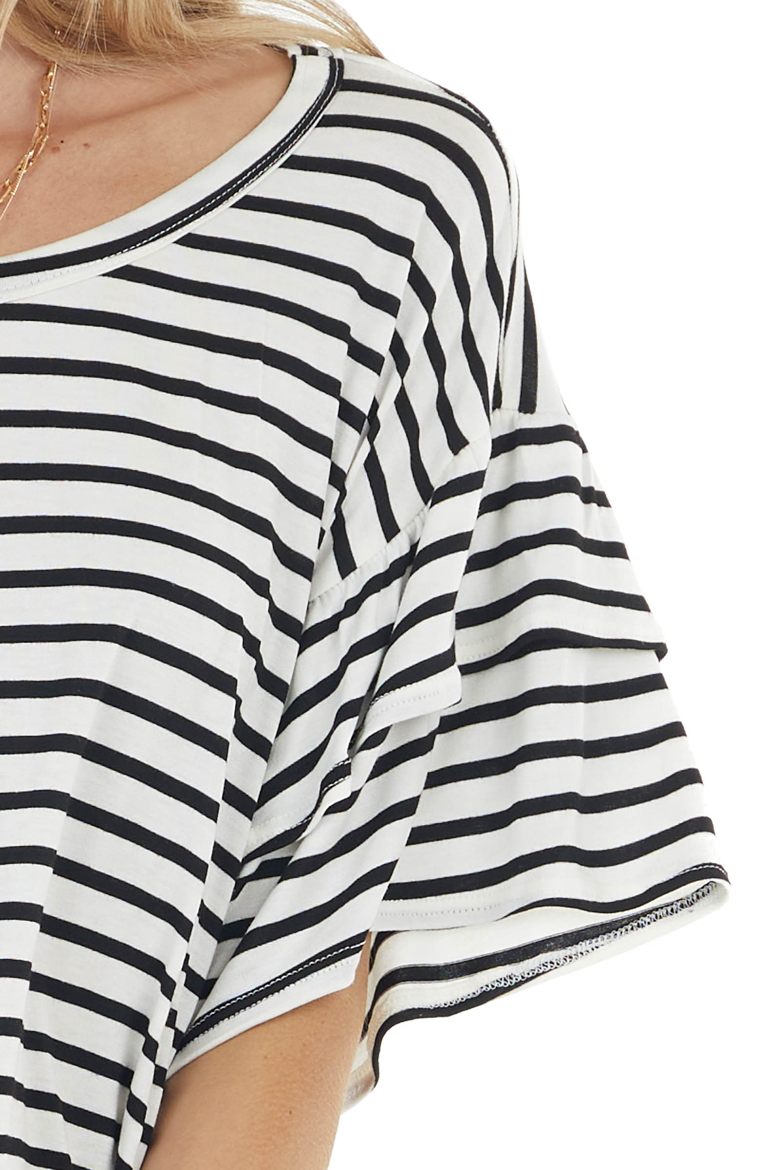 Ivory and Black Striped Knit Top with Short Ruffle Sleeves
