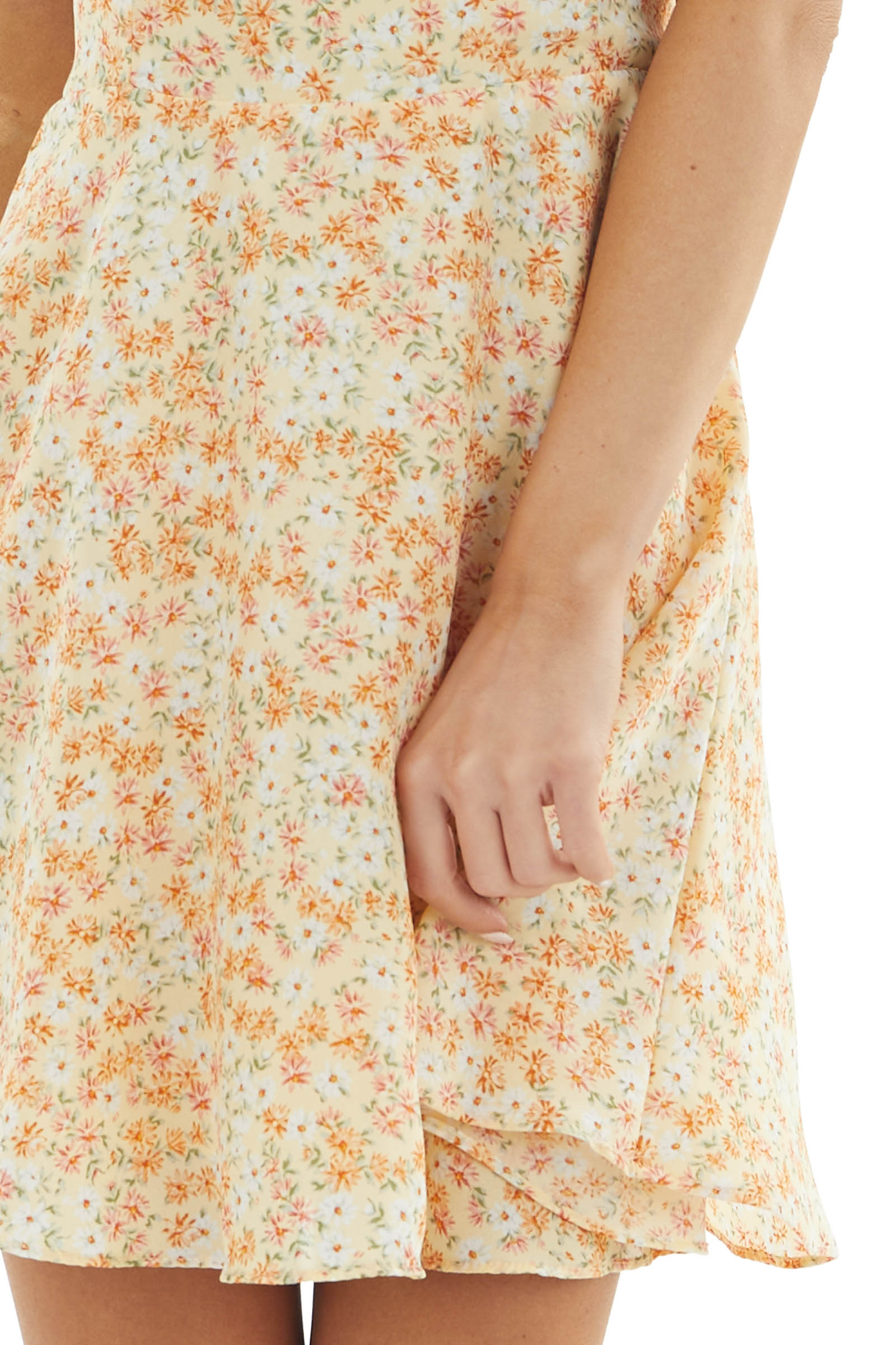 Light Yellow Ditsy Floral Dress with Spaghetti Straps