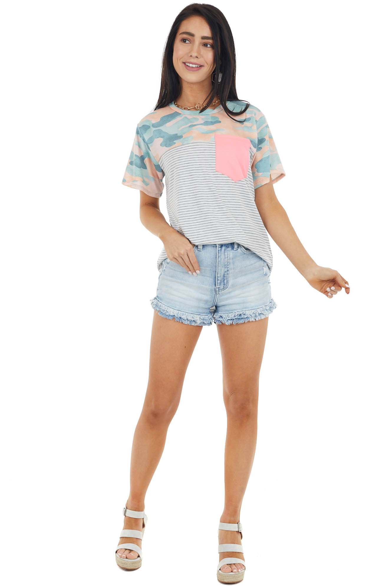 Sage Contrasting Print Short Sleeve Top with Pocket