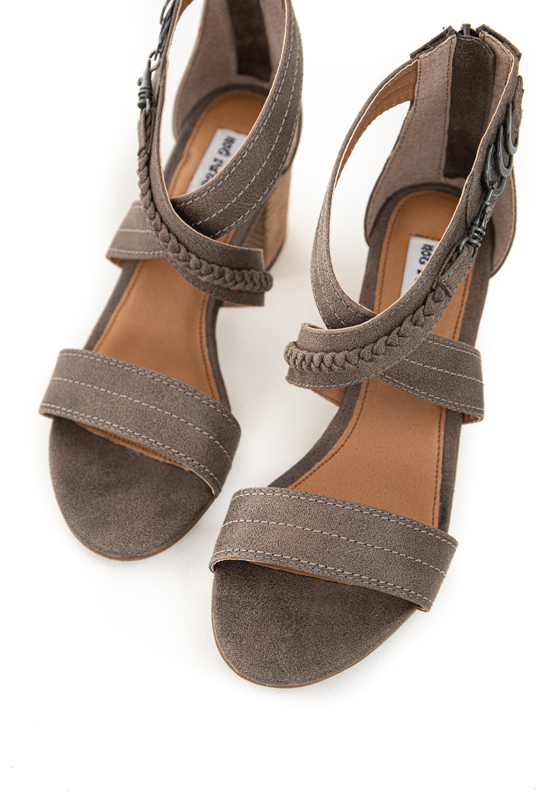 Cocoa Criss Cross Strap Block Heel with Braided Detail