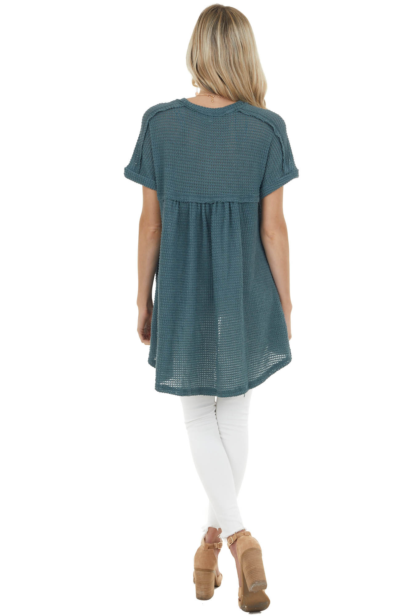 Spruce Short Sleeve Waffle Knit Top with Button Detail