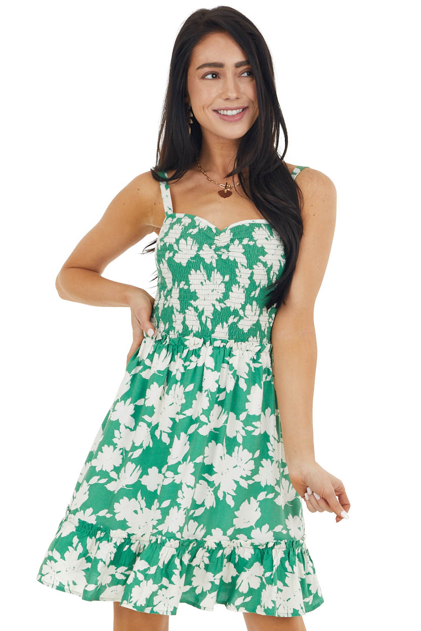 Jade Green Floral Print Smocked Drop Waist Short Dress