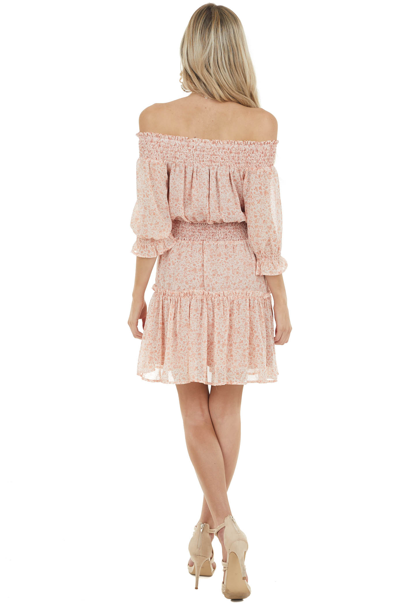 Peach Floral Print Tiered Dress with Bubble Sleeves