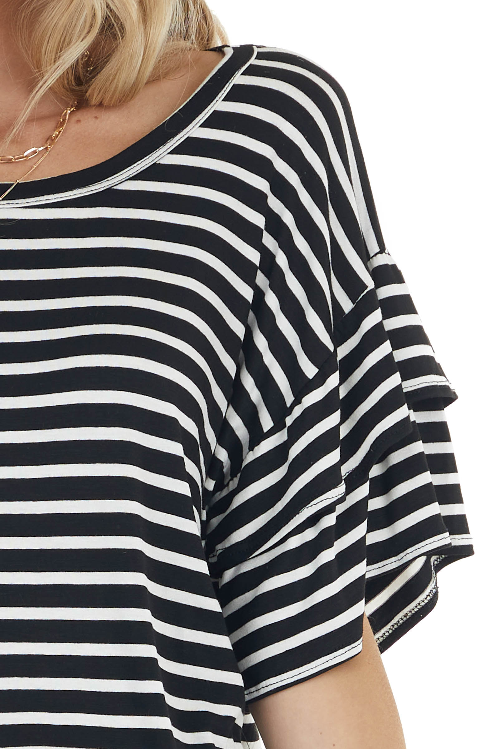 Black and Ivory Striped Knit Top with Short Ruffle Sleeves