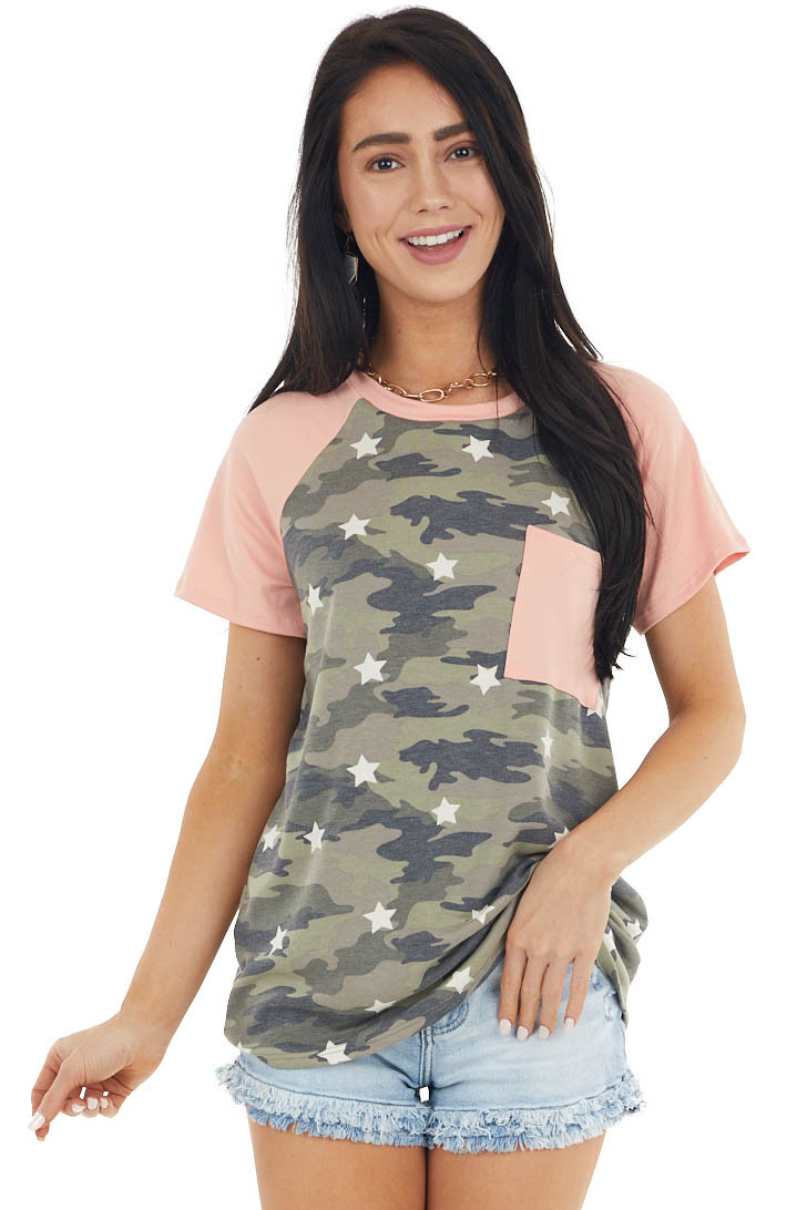 Salmon Camo Print Short Raglan Sleeve Tee with Star Details