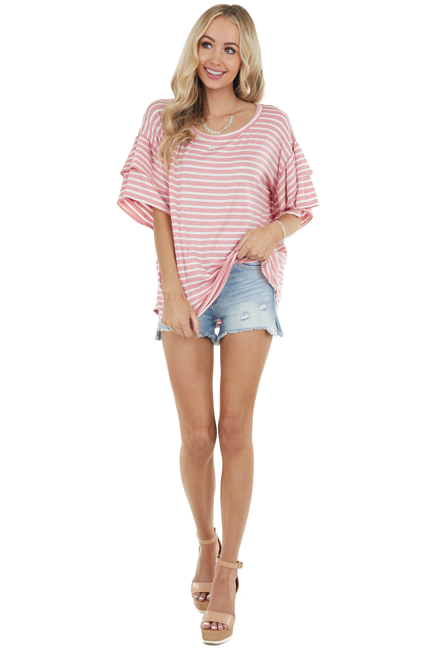 Blush and Ivory Striped Knit Top with Short Ruffle Sleeves