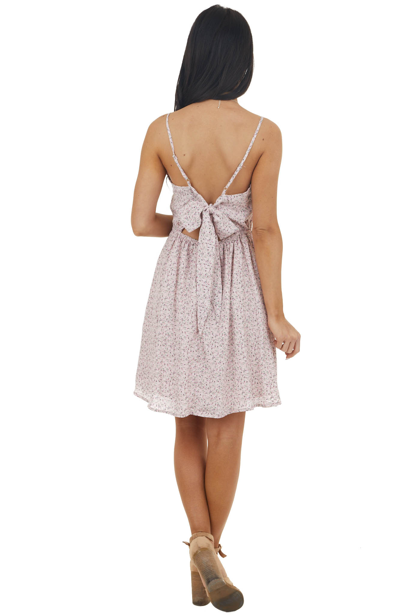 Dusty Blush Sleeveless Ditsy Floral Dress with Tie Details