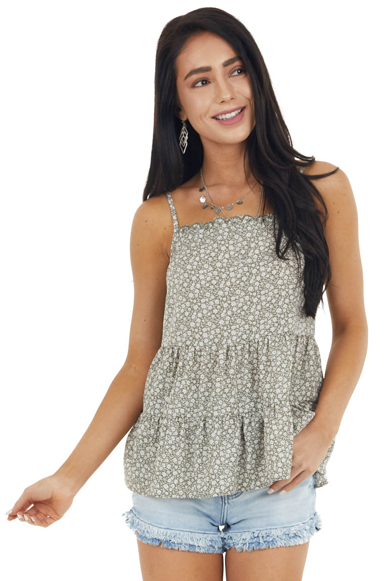 Army Green Ditsy Floral Tiered Camisole Babydoll Top