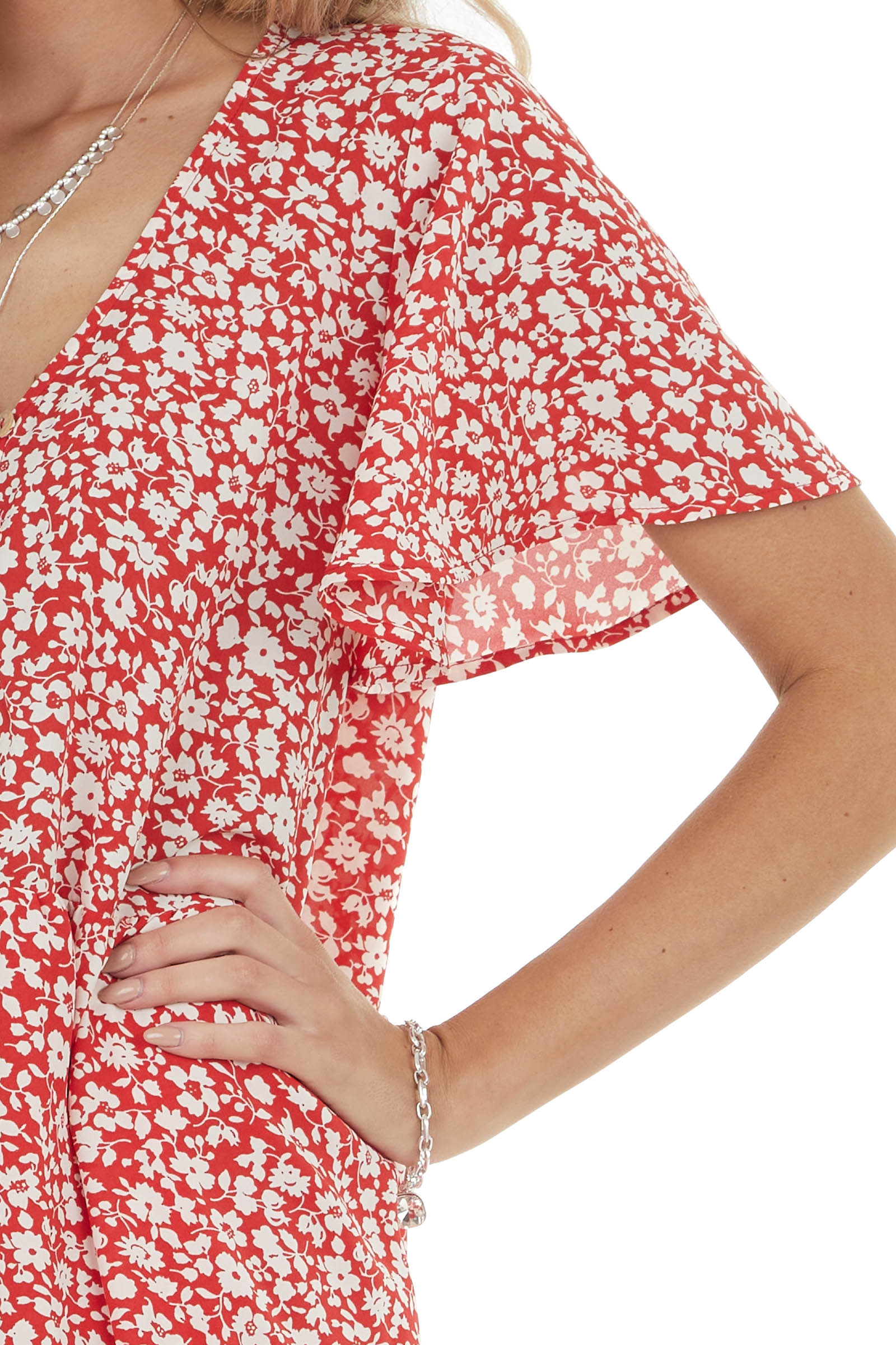 Candy Apple Red Ditsy Floral Button Down Tiered Woven Dress
