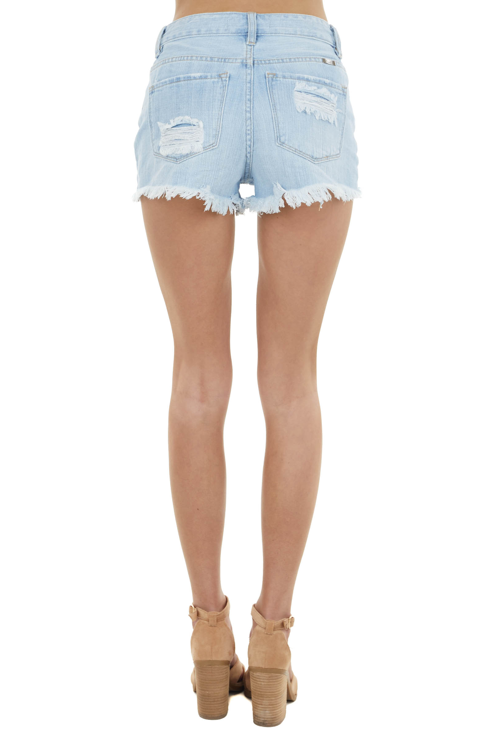 Light Wash High Rise Distressed Shorts with Frayed Hem