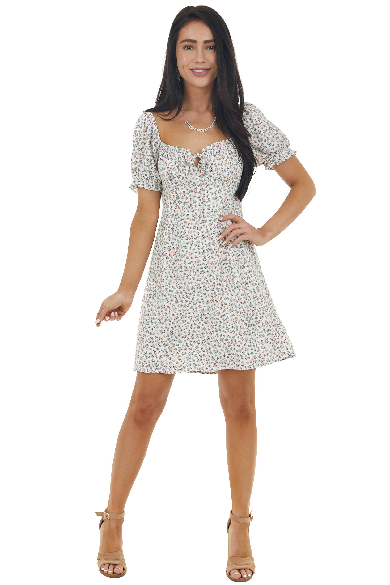 White Ditsy Floral Dress with Short Bubble Sleeves