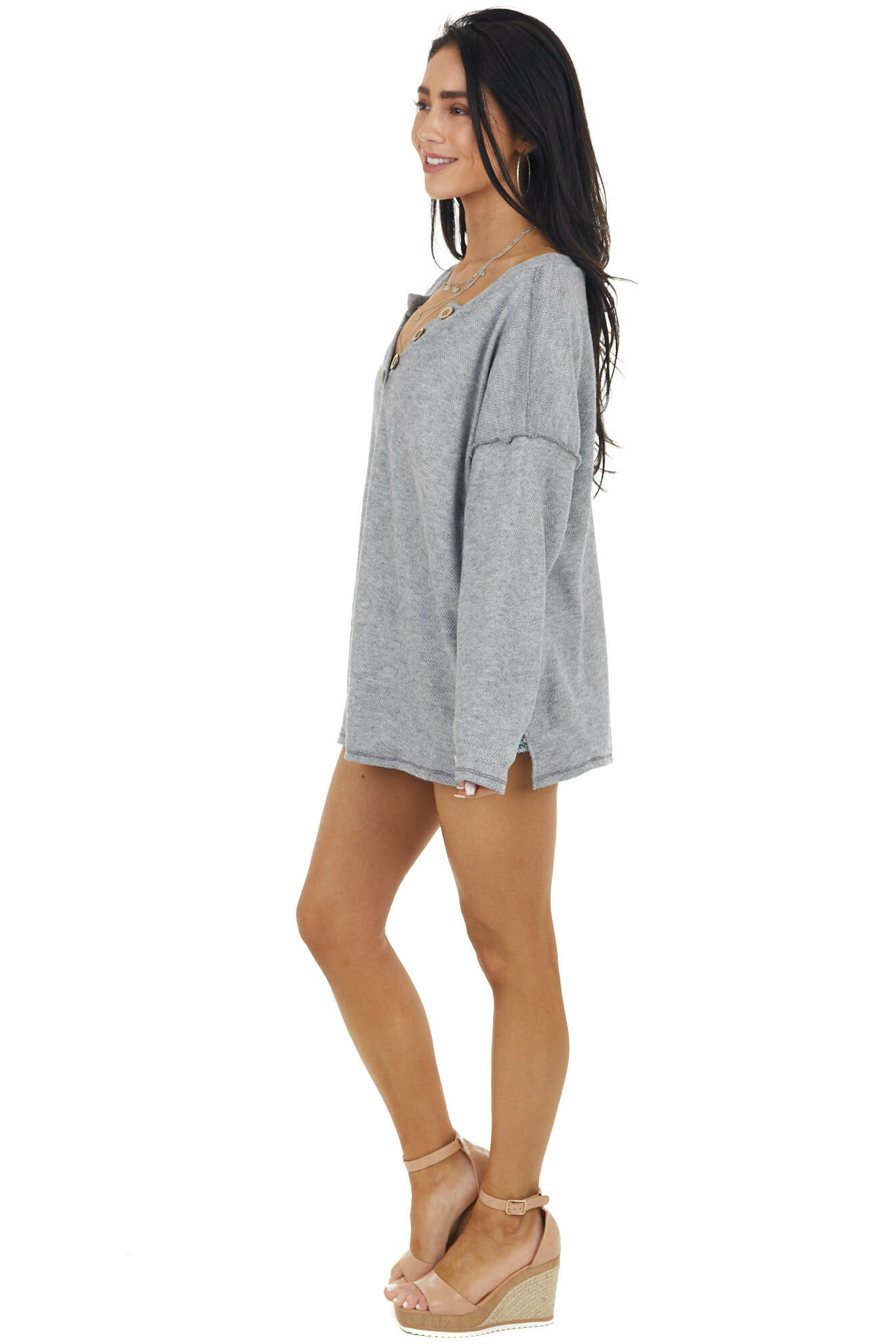 Vintage Stone Grey Henley Top with Reversed Seam Details