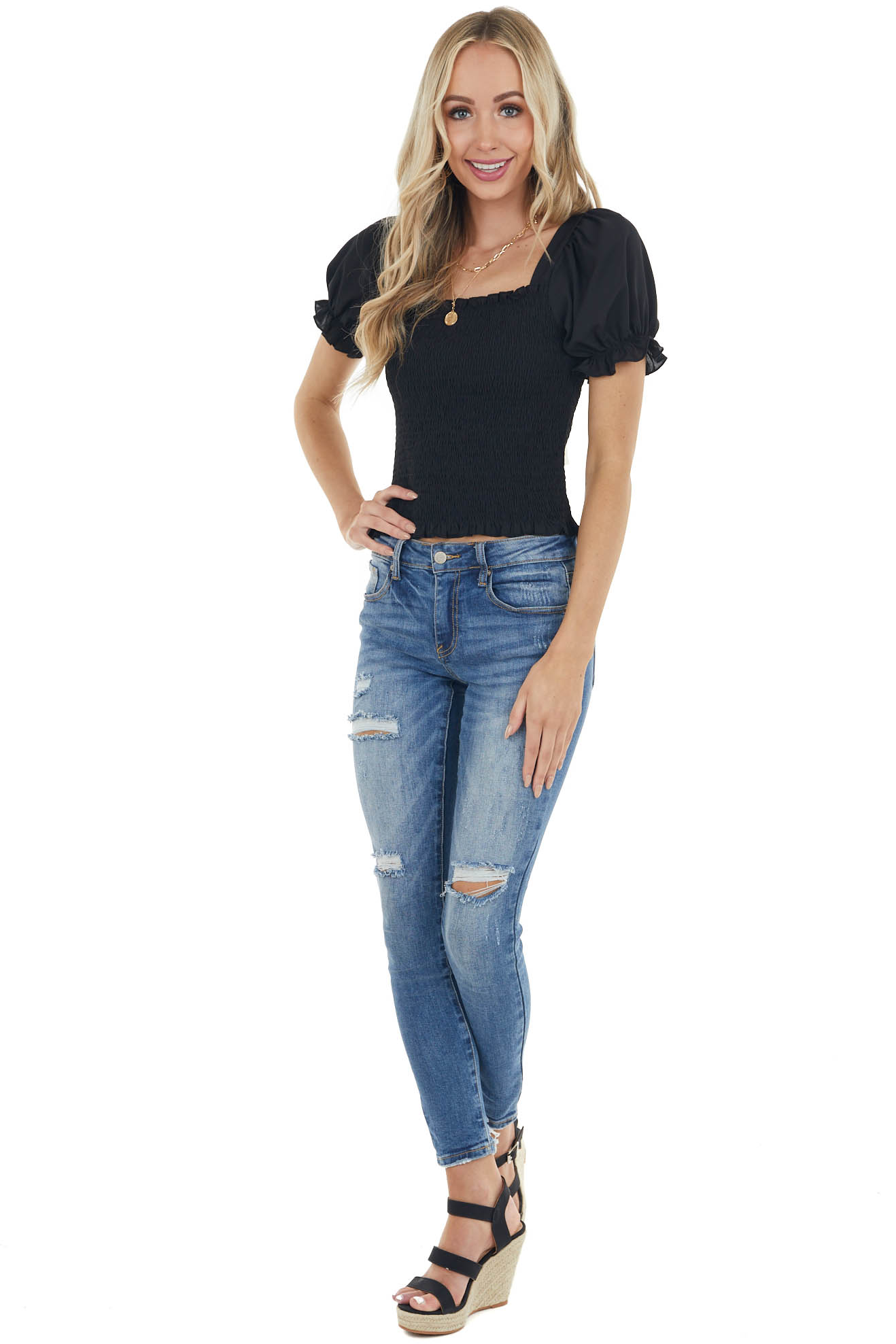 Black Textured Smocked Short Sleeve Top with Tie Detail