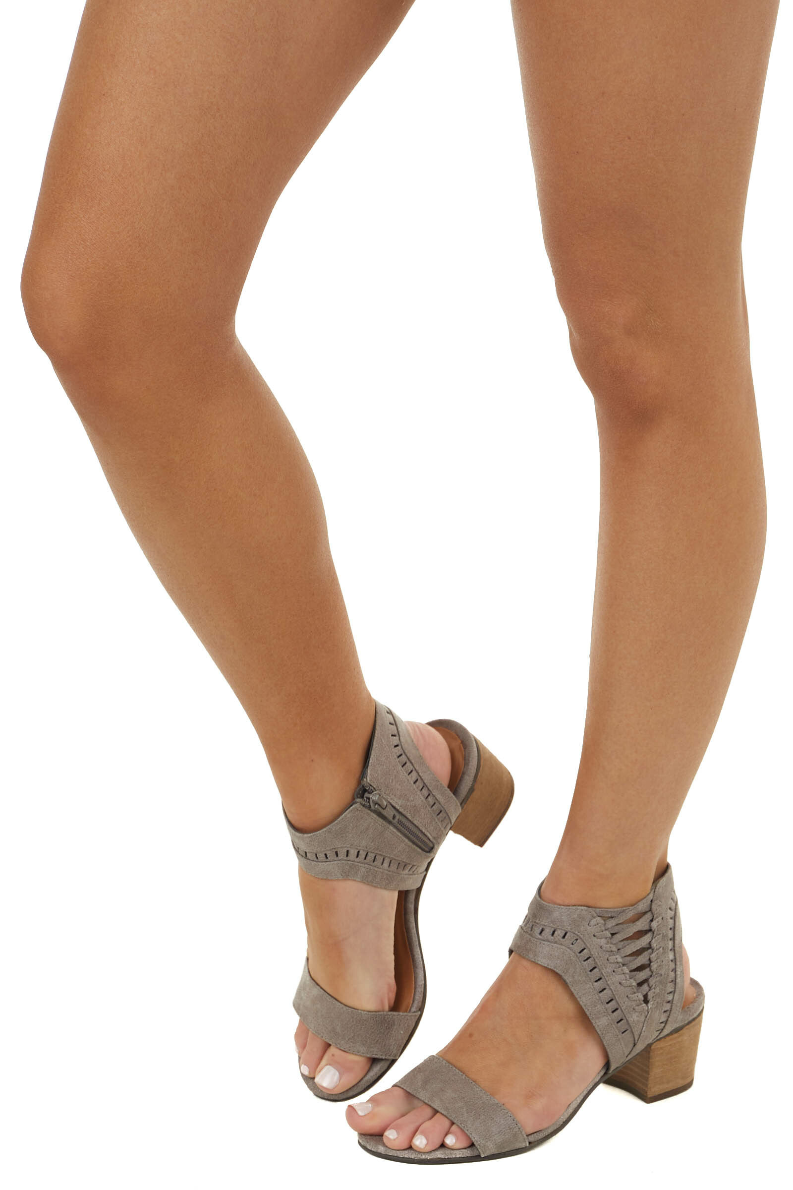 Taupe Textured Block Heel Sandals with Lace Up Detail