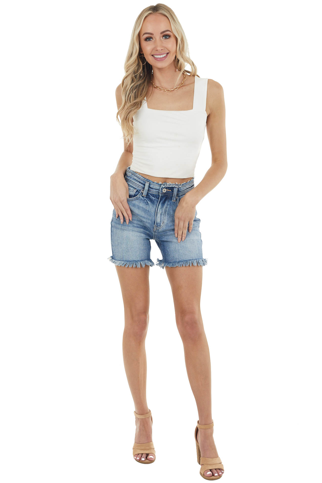 Medium Wash High Rise Jean Shorts with Frayed Details