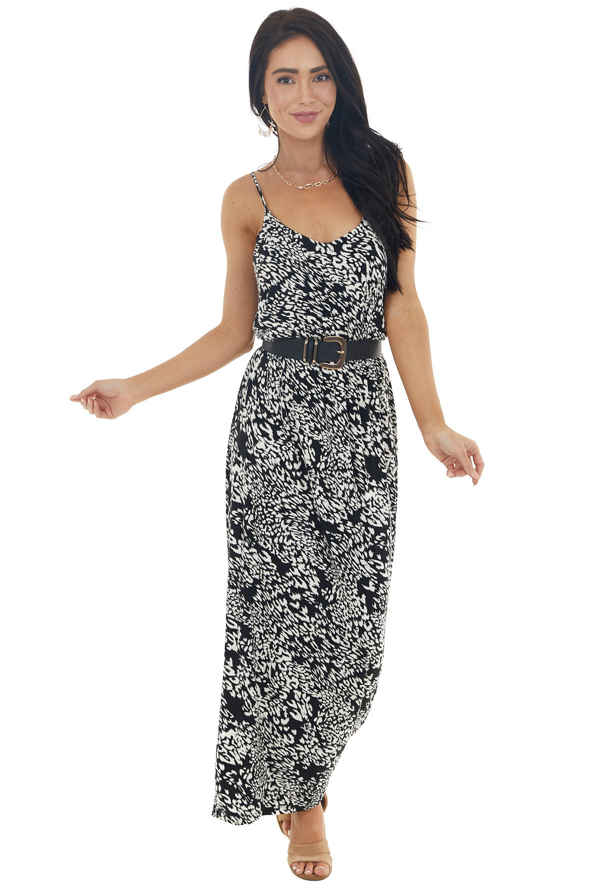 Black and Ivory Leopard Print Sleeveless Blouson Maxi Dress