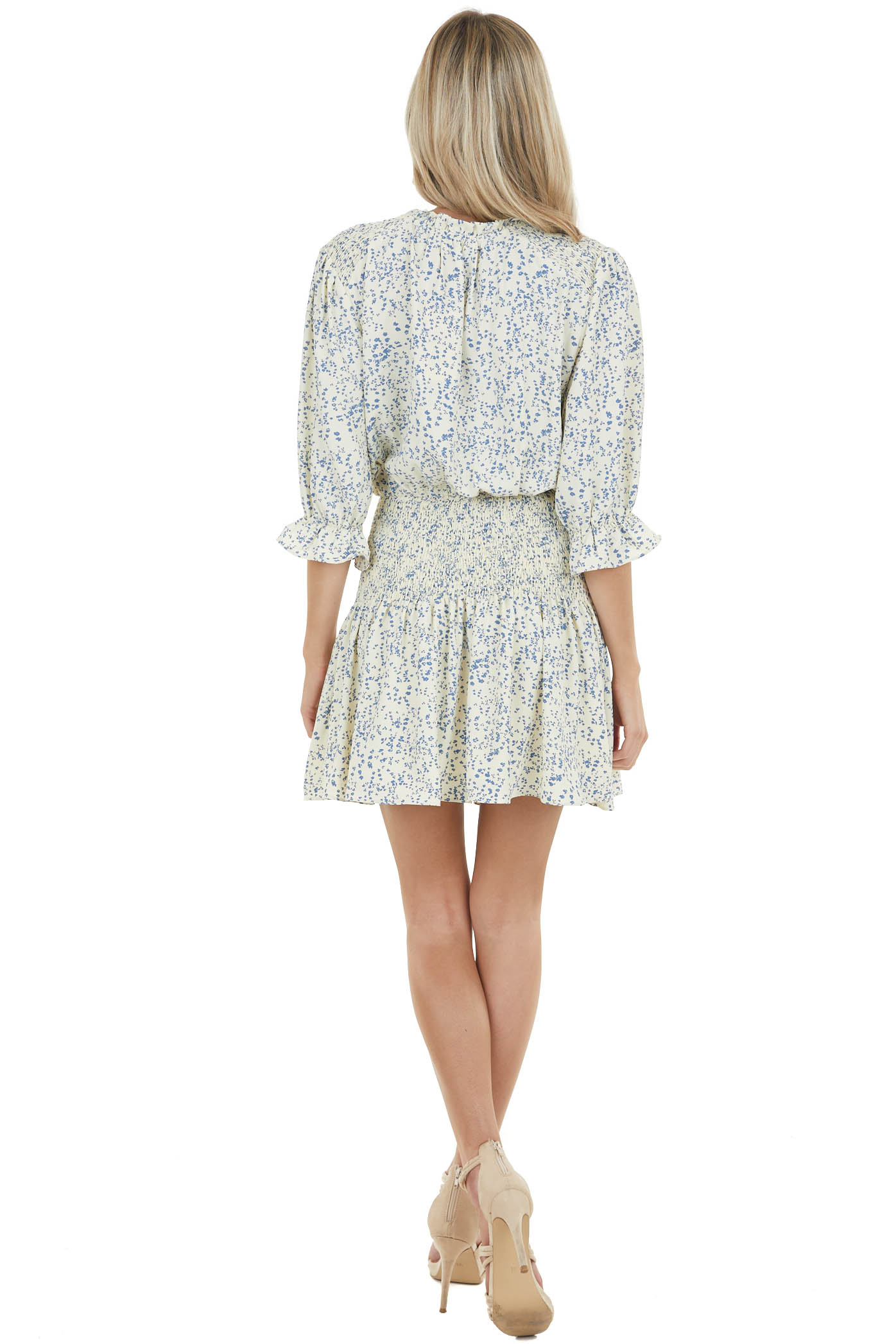 Cream Ditsy Floral Short Blouson Dress with Smocked Detail