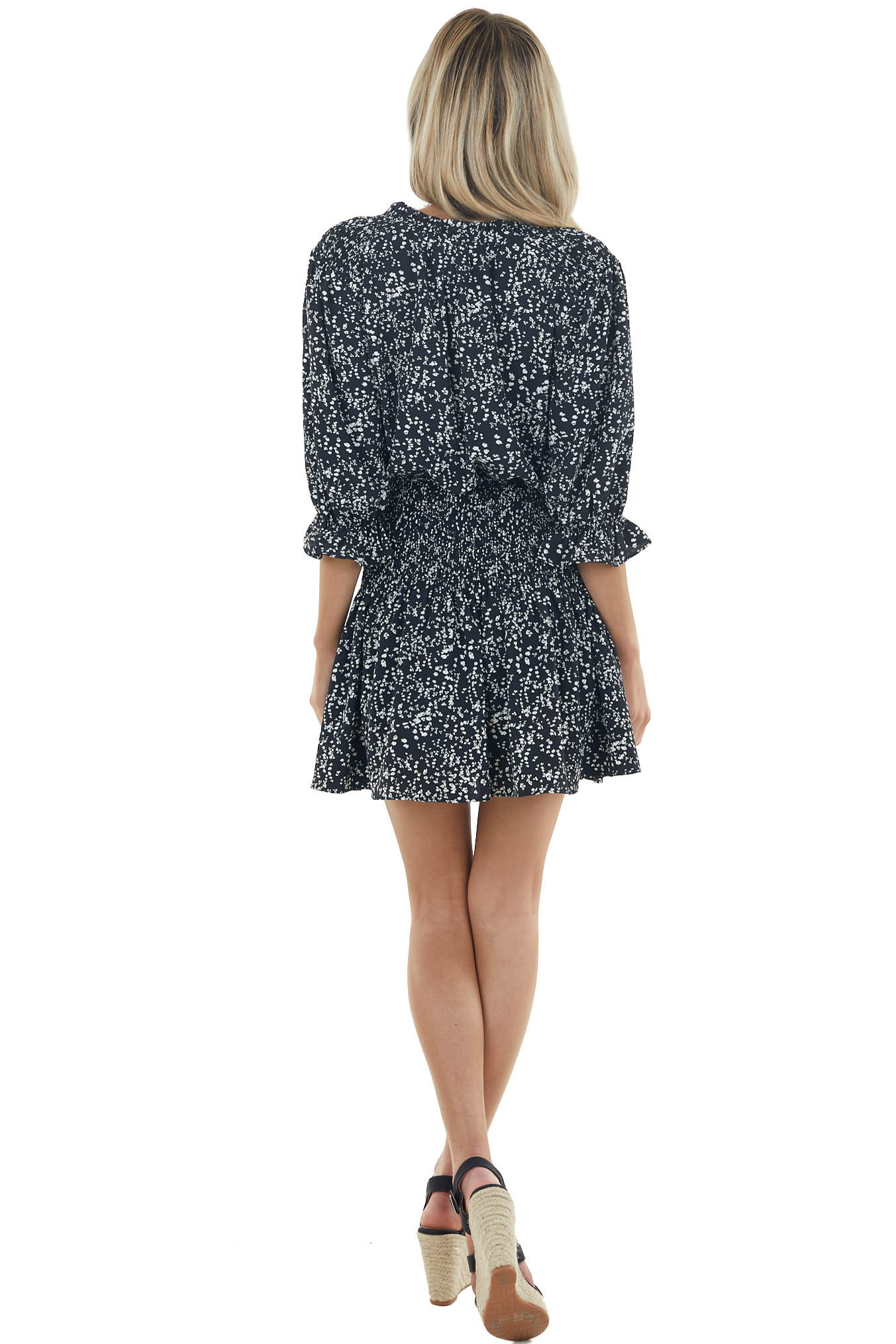 Black Ditsy Floral Short Blouson Dress with Smocked Detail