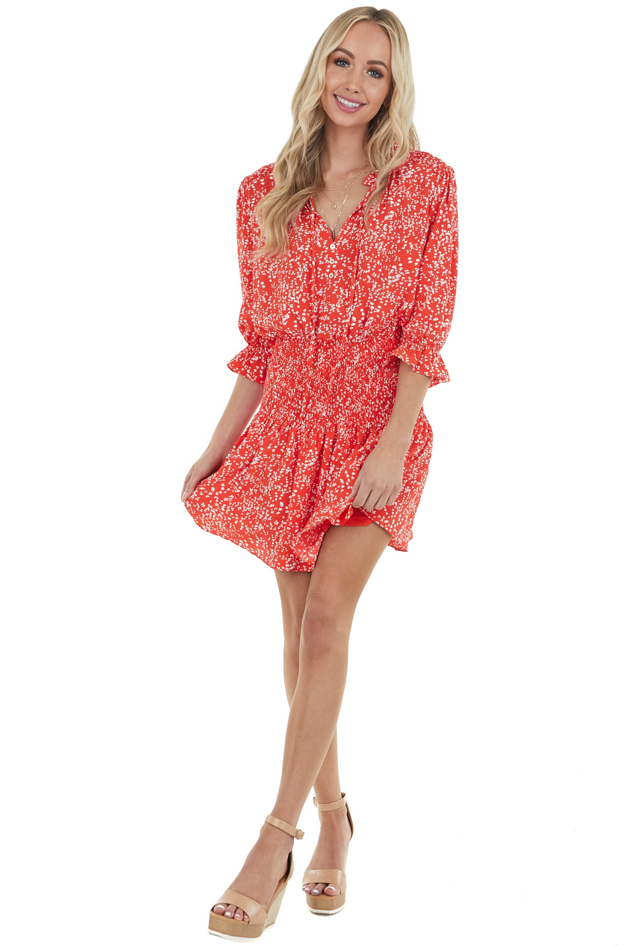 Crimson Ditsy Floral Short Blouson Dress with Smocked Detail