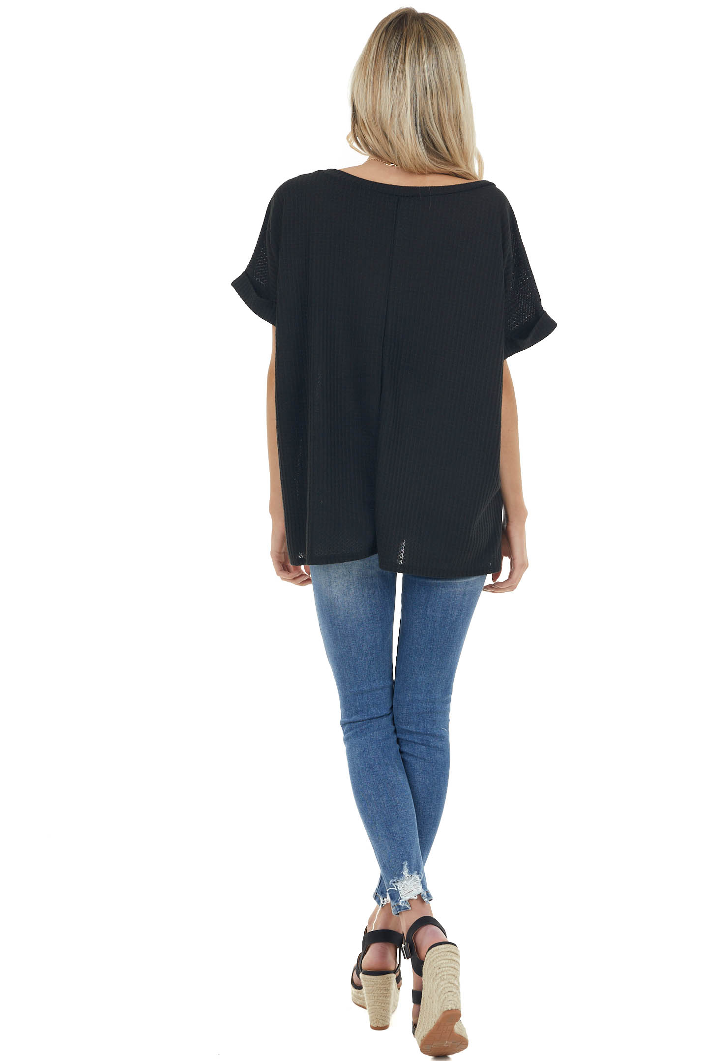 Black Waffle Knit Oversized Top with Short Cuffed Sleeves