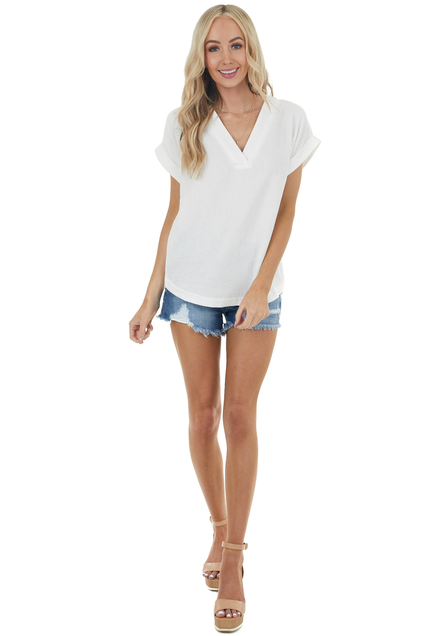Off White Textured Short Sleeve Top with V Neckline