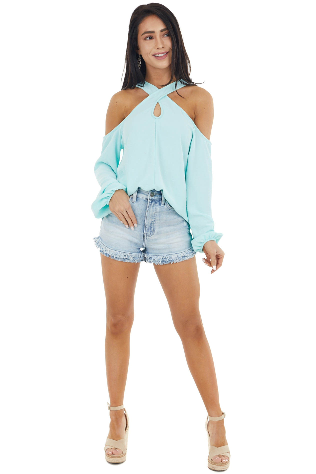 Turquoise Cold Shoulder Long Sleeve Top with Crossed Neck