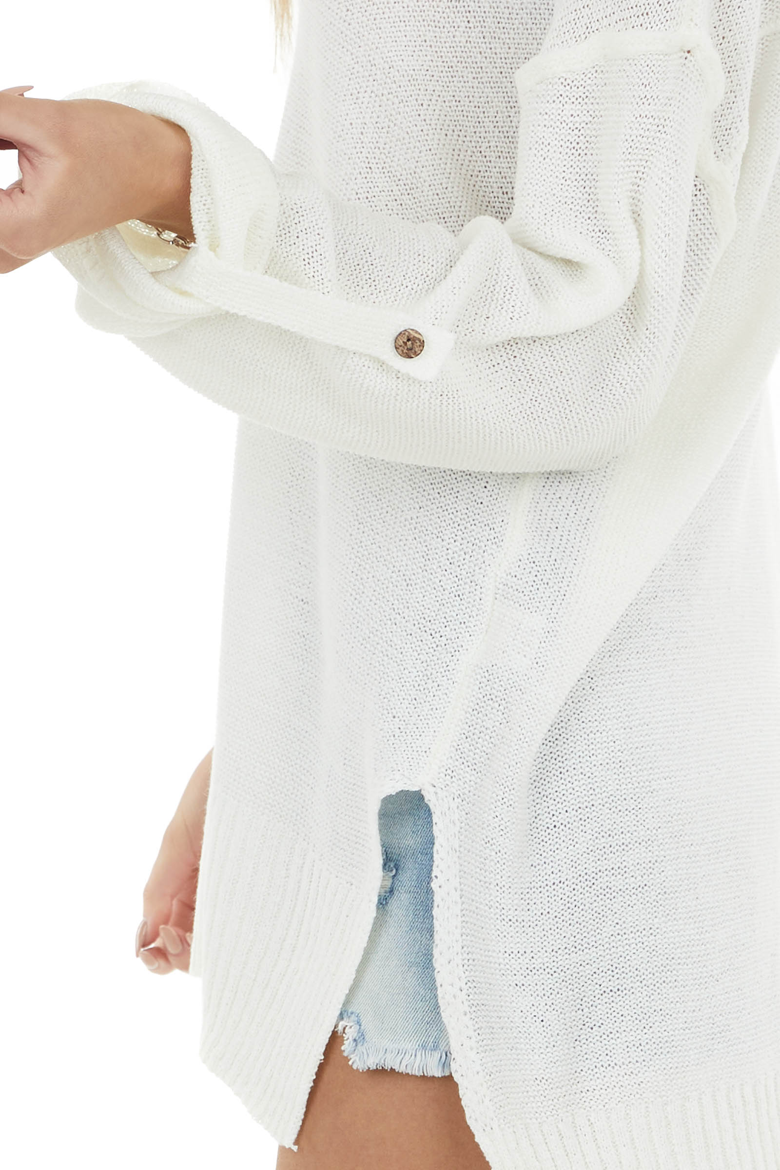 Off White V Neck Knit Sweater with Wood Button Details