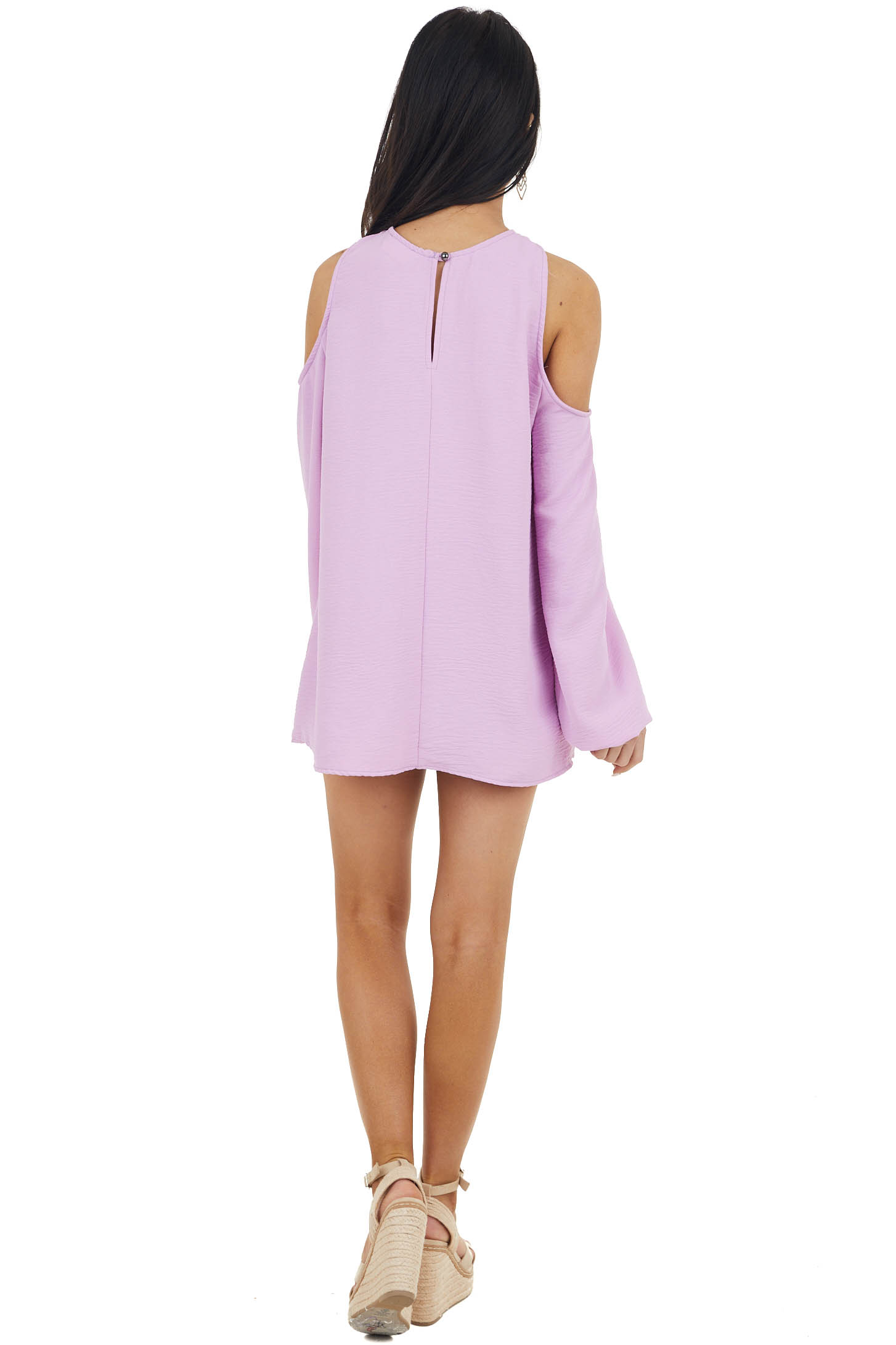 Iris Purple Cold Shoulder Long Sleeve Top with Crossed Neck
