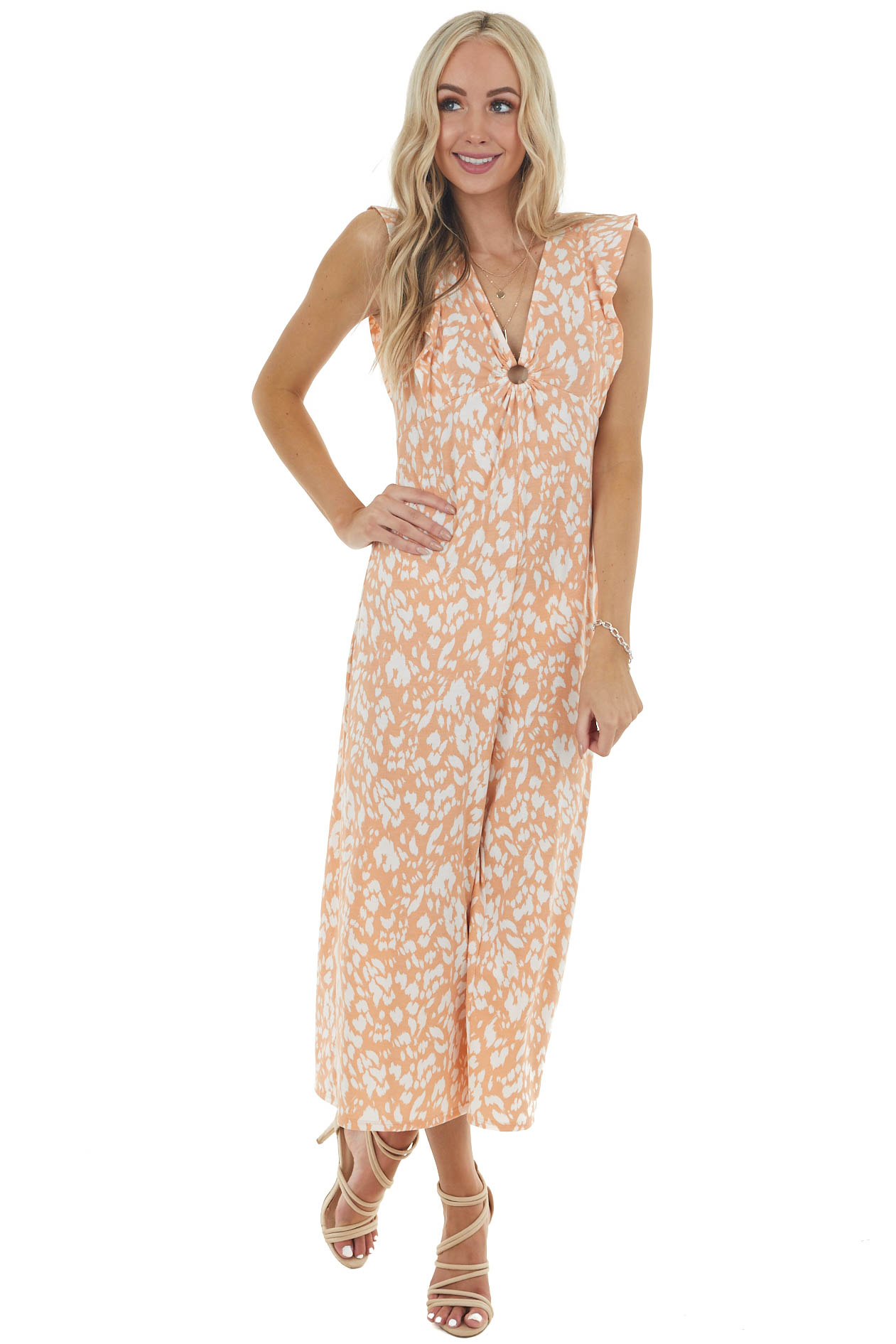 Salmon Printed Short Sleeve Jumpsuit with Front Ring Keyhole