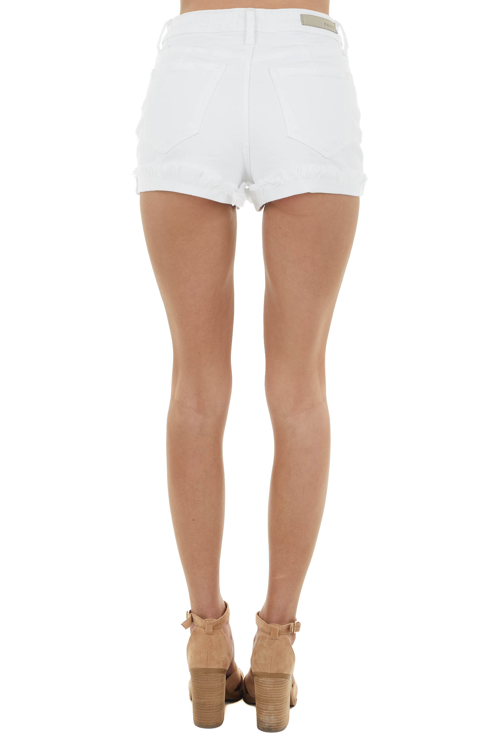 White High Rise Denim Shorts with Cuffed Frayed Hem