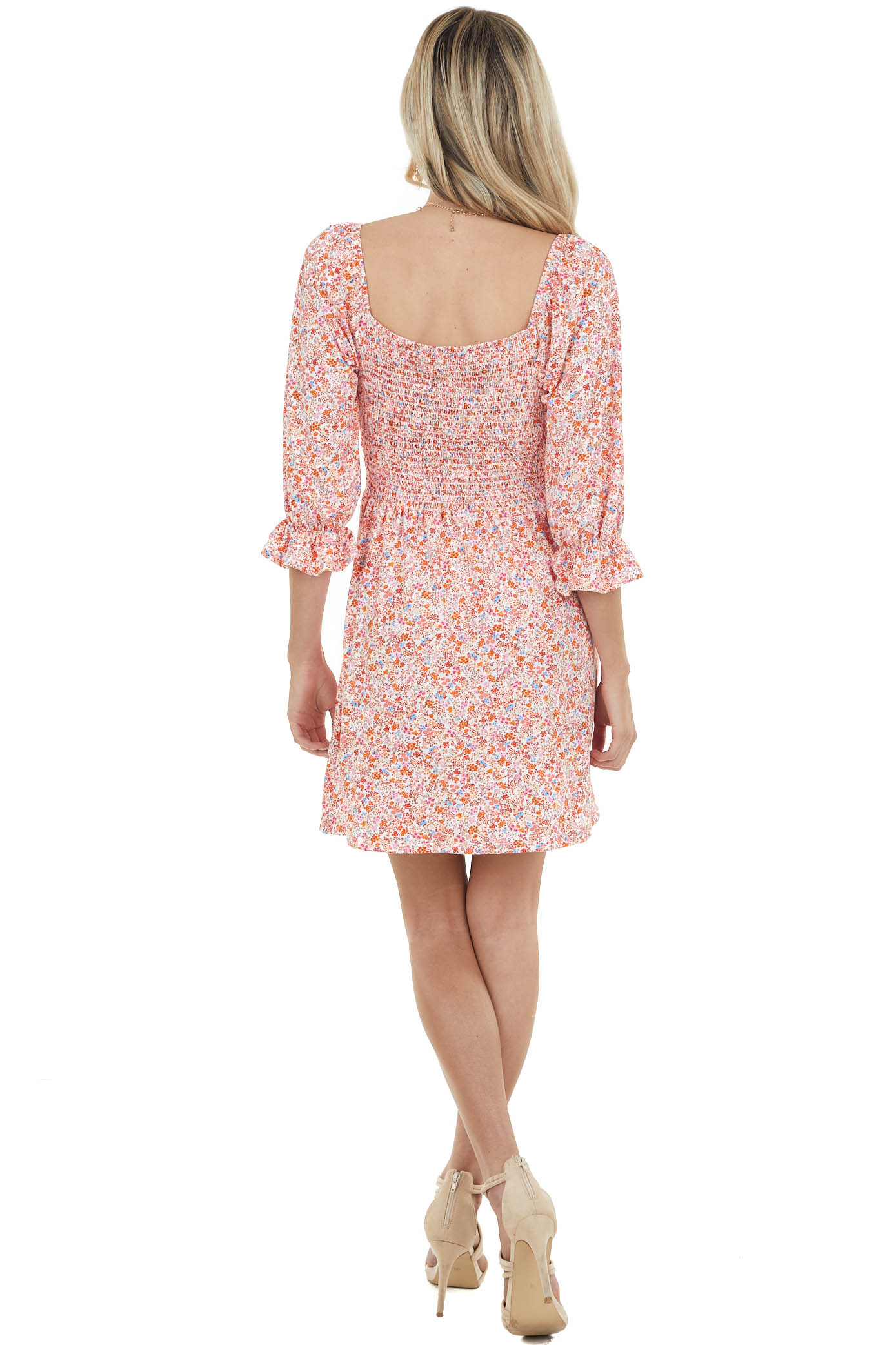 Ivory Ditsy Floral 3/4 Sleeve Mini Dress with Smocked Back
