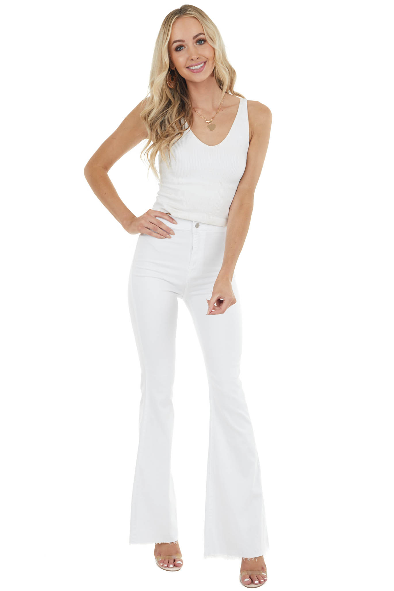 White Fitted Flare High Rise Jeans with Raw Hem