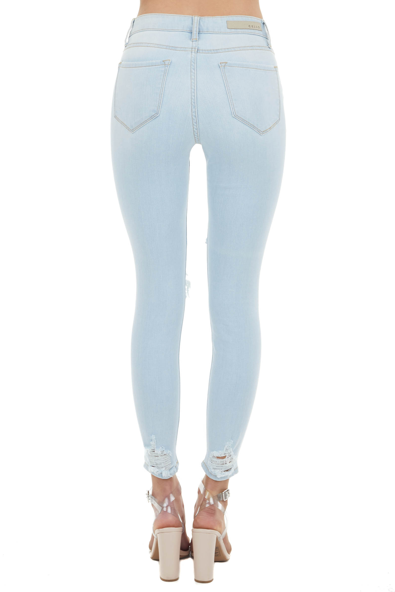 Light Wash Mid Rise Distressed Cropped Skinny Jeans