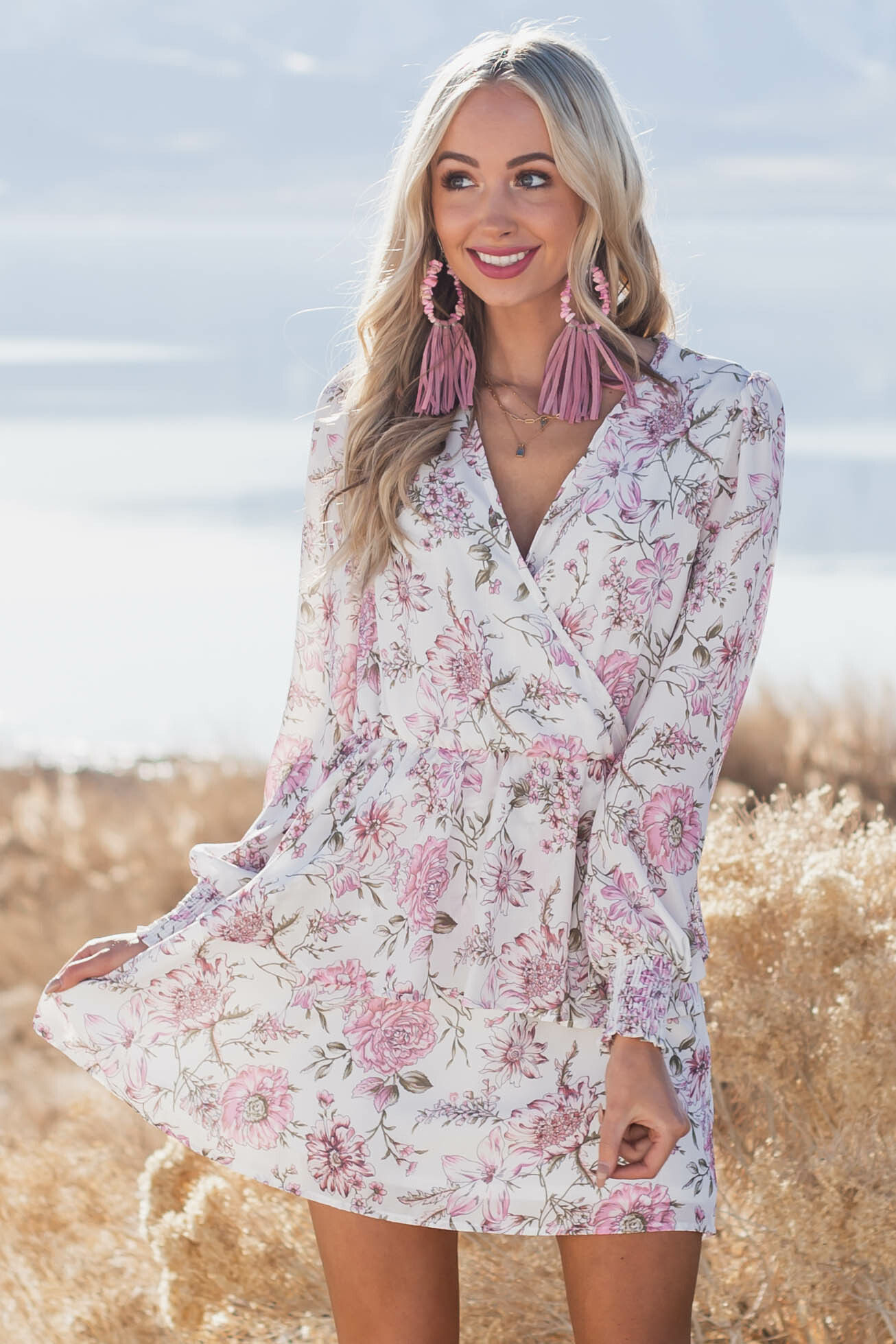 Ivory Floral Ruffle Mini Surplice Dress with Long Sleeves