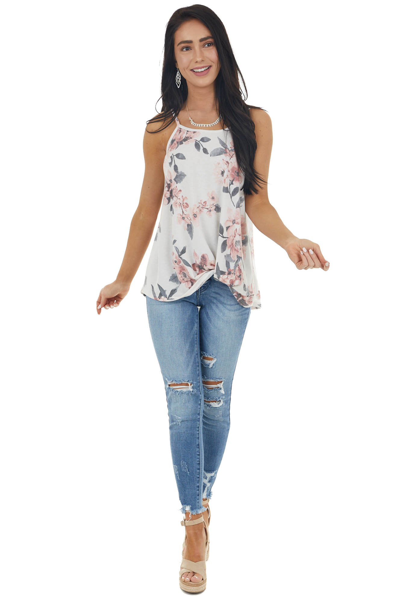 Ivory Floral Print Tank Top with Front Twist Detail