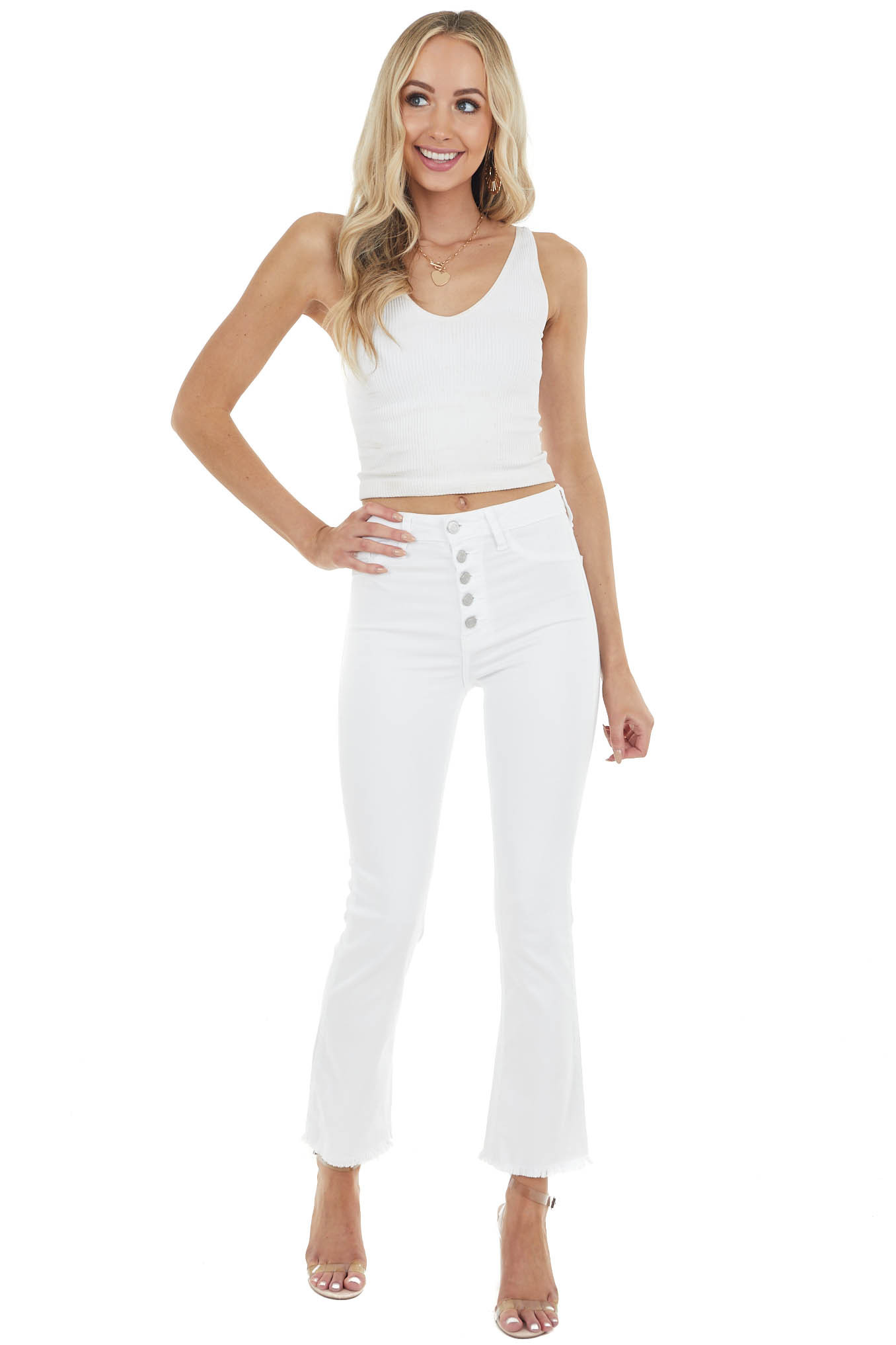 Off White Flare High Rise Stretchy Jeans with Frayed Hem