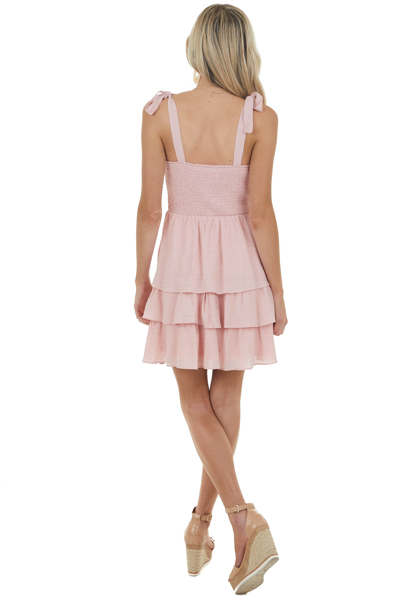 Light Punch Layered Smocked Mini Dress with Tied Straps