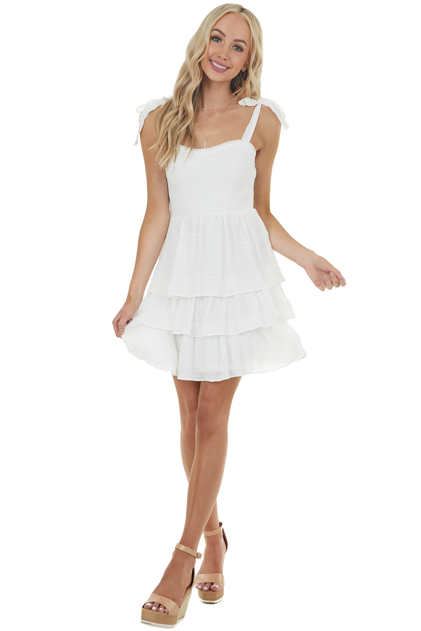 Off White Layered Smocked Mini Dress with Tied Straps