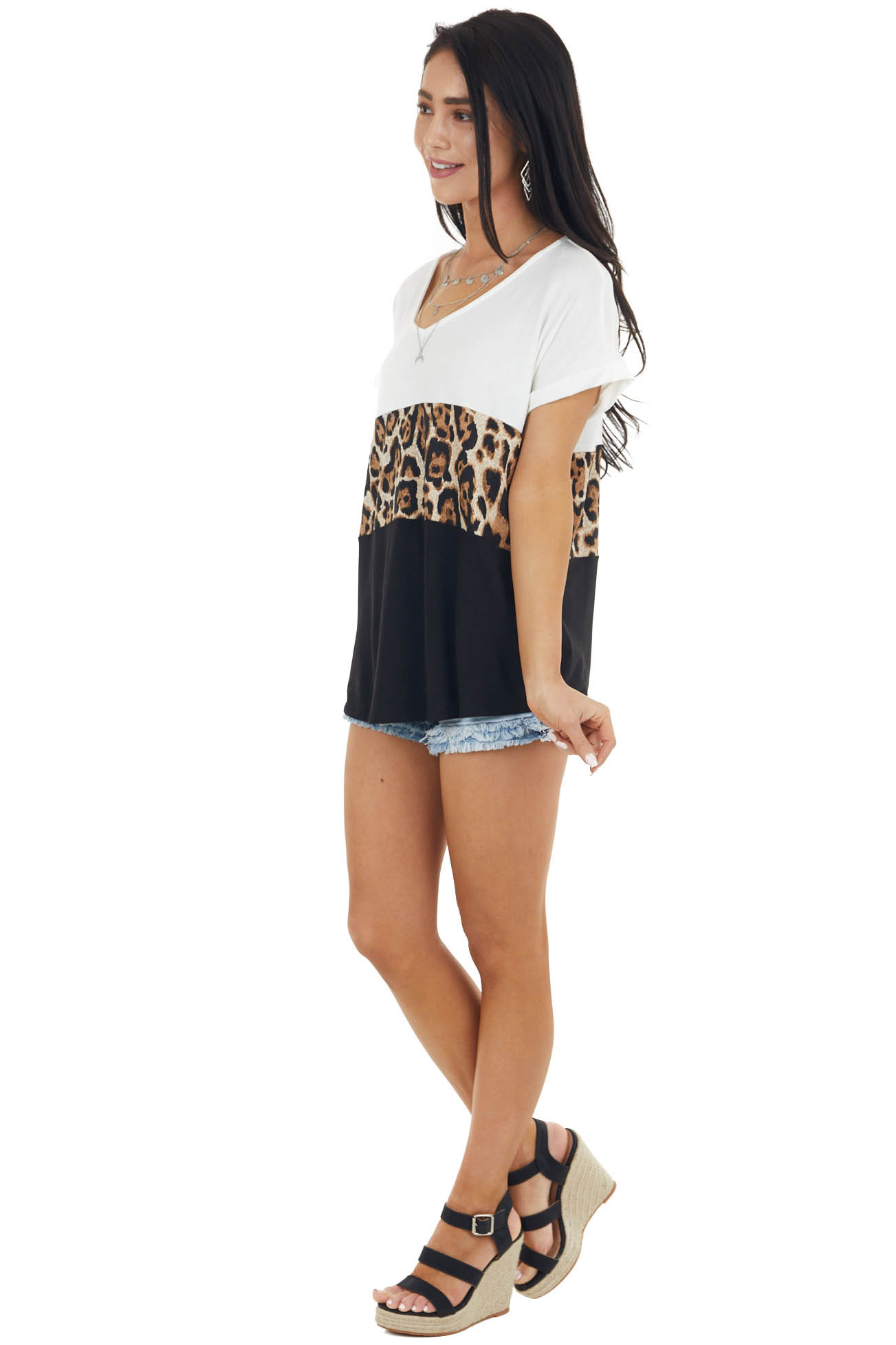 Ivory and Black Leopard Print Colorblock Short Sleeve Top