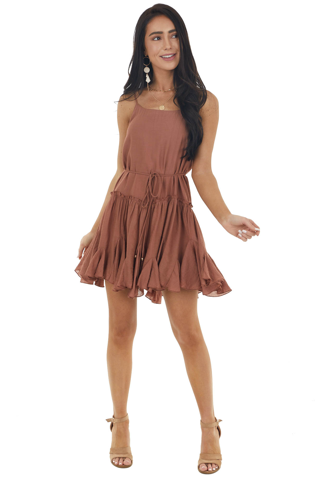 Sienna Textured Ruffled Cami Mini Dress with Front Tie