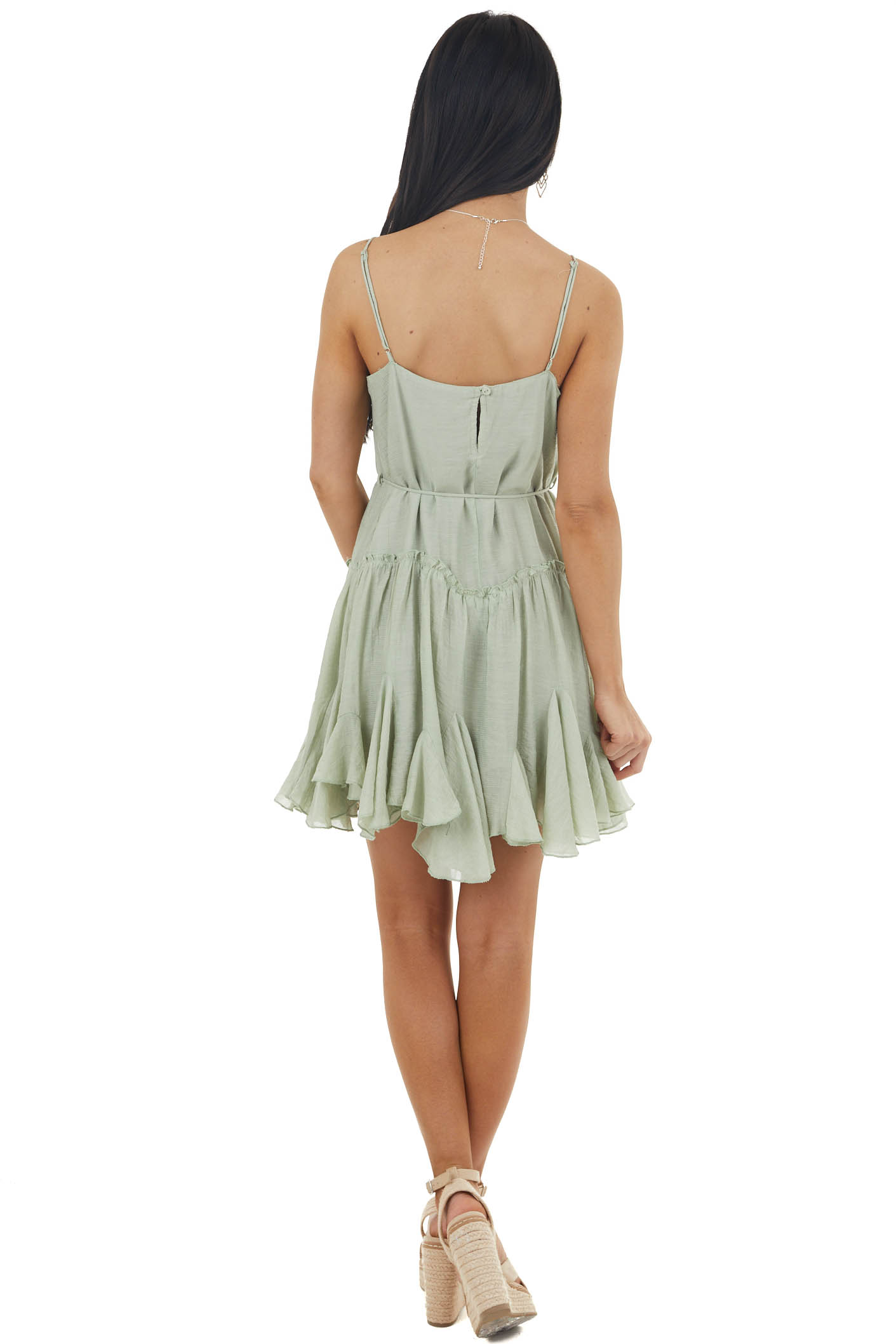 Sage Textured Ruffled Cami Mini Dress with Front Tie
