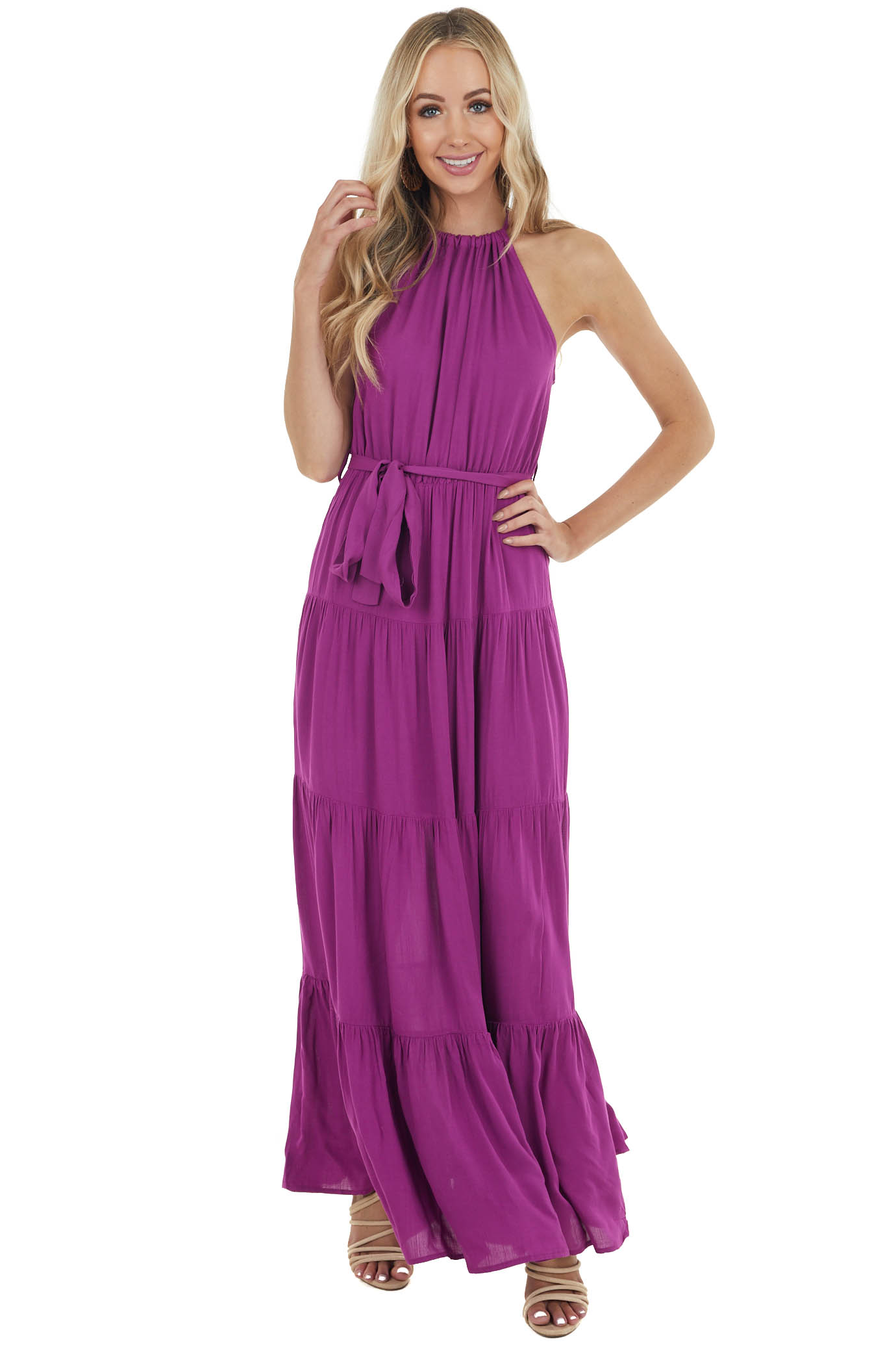 Light Plum Halter Neck Tiered Maxi Dress with Tie Detail