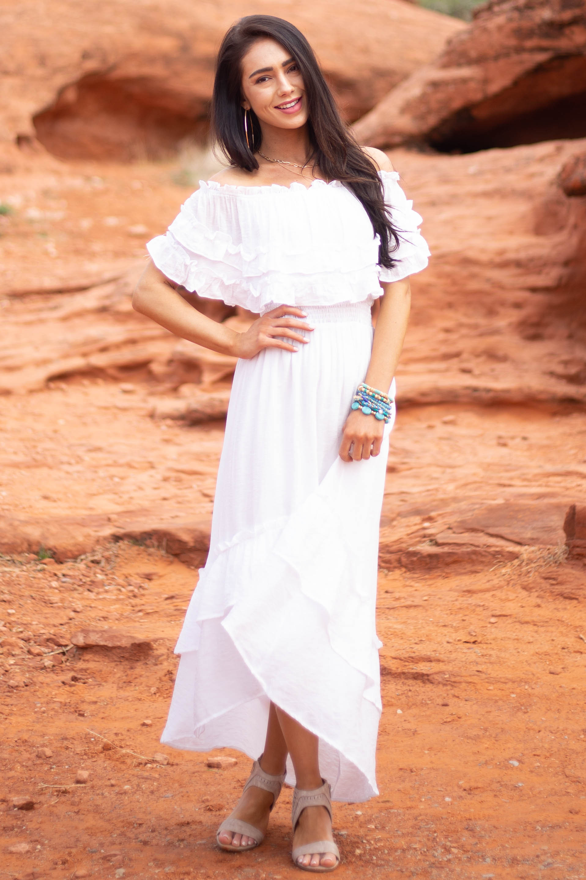Pearl Off the Shoulder Maxi Dress with Ruffle Details