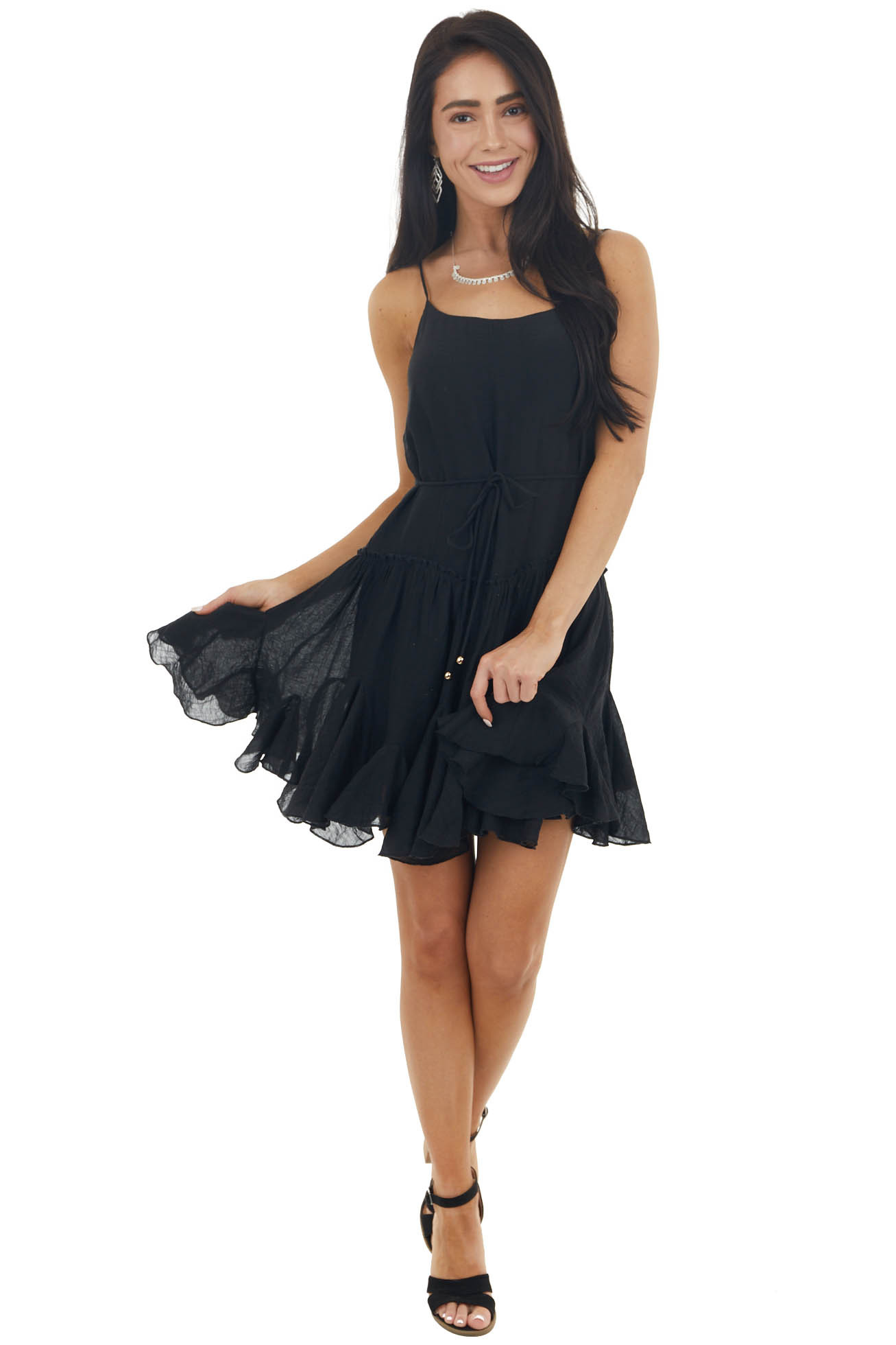 Black Textured Ruffled Cami Mini Dress with Front Tie