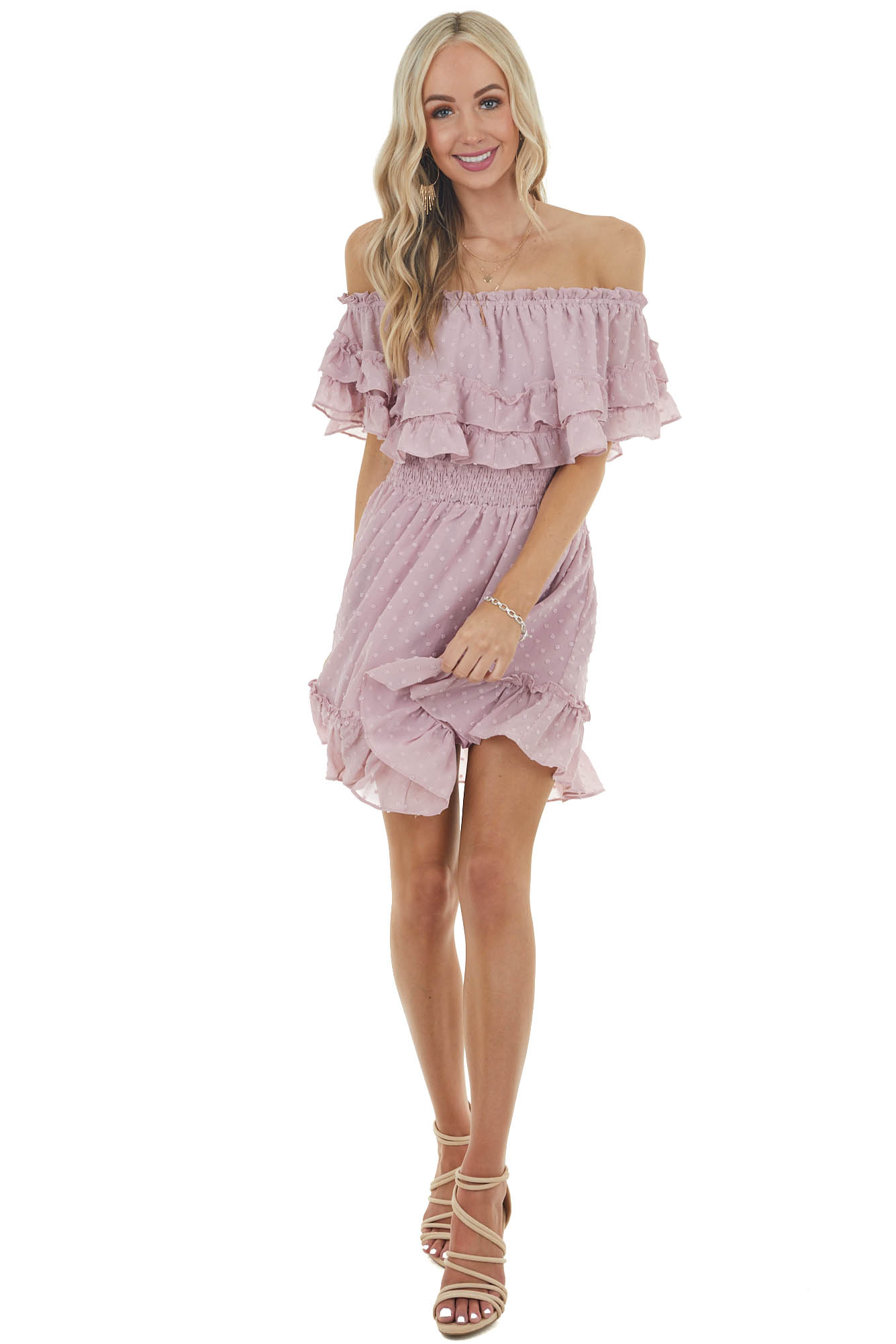 Dusty Blush Swiss Dot Off Shoulder Ruffled Short Dress