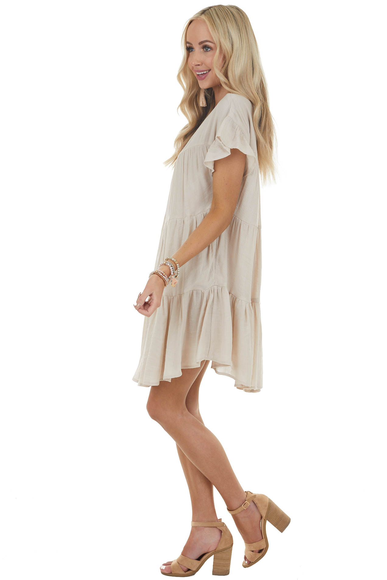Desert Sand Tiered Babydoll Short Dress with Side Pockets